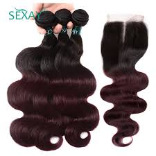 Bundle Hair Length Chart Sexay Ombre Burgundy Hair 3 Bundle With Lace Closure 1b 99j
