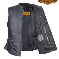 womens leather vest with two pockets zippered lower