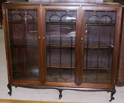 petite walnut antique triple door bookcase inside for glass designs 8