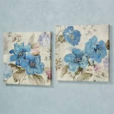 floral delight canvas wall art medium blue set of two on canvas wall art blue flowers with blue floral delight canvas wall art set