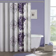 white shower curtain bathroom. Purple And Gray Curtains White With Grey Flowers Bathroom Cute Shower Curtain