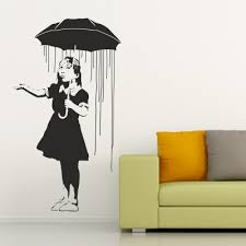 on banksy wall art sticker with rain girl banky wall stickers