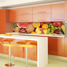kitchen tiles with fruit design. diamondback fruit printed acrylic splashback. modern interior design ideas. galley kitchen. picture of kitchen tiles with h