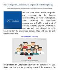 How To Register A Company How To Register A Company Or Organization In Hong Kong By