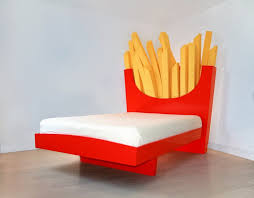 unique bed. Why Don\u0027t You Sleep With This Unique Bed By Cecilia Carey. Has A Headboard In Form Of Giant French Fries Cushions Its