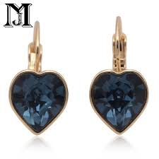 jiamu fashion jewelry 585 rose gold pendant crystal heart shaped earrings with swarovski elements for