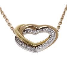 cartier 18 k three tone gold trinity heart diamond pendant necklace 19480 at best tlc