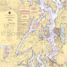 Washington Puget Sound Nautical Chart Decor