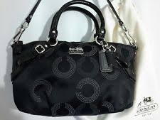 COACH Madison Sophia 15935 Black Dotted Op Art Signature HAND BAG Purse  Dust Bag