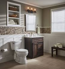 bathroom inspiration. design a spa-like bath with rich brown farmhouse vanity paired pebble bathroom inspiration t
