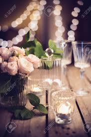 elegant decorations wedding table lights. Elegant Vintage Wedding Table Decoration With Roses And Candles, Warm Night Light Filter Stock Photo Decorations Lights S