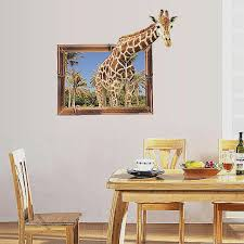 sticker 3d sol inspirational 1 pc new 3d giraffe fake window wall stickers home decor