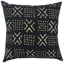 Akua One of a Kind Black Mudcloth Pillow