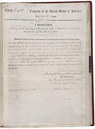 abolishing slavery the thirteenth amendment signed by abraham lincoln official copy of the thirteenth amendment now in the national archives