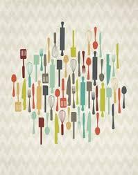 kitchen utensils art. Retro Kitchen Utensils 8x10 Print By ProjectType On Etsy Art Pinterest