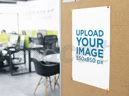 Mockup Poster Placeit Office Poster Mockup Pinned To A Cork Board