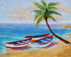 oil painting landscape for beginners boat painting boat oil painting tropical beach painting on