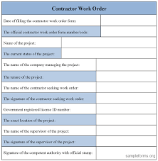 Examples Of Work Order Forms 10 Proto Politics