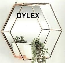 rose gold hexagon mirror shelf metal