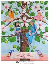 family tree painting as a creative 50th birthday gift for a boss