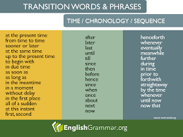 Chronology Words Transition Words And Phrases For Time Chronology And Sequence