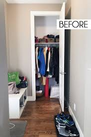 taking a closer look inside the coat closet you can see that the small baskets on the top shelf were overflowing with hats and gloves and the floor space
