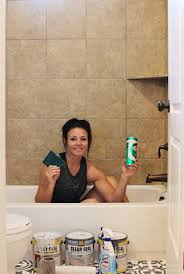 step by step tutorial how to paint shower tile