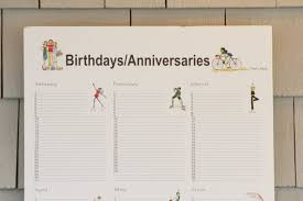 Birthday Anniversary Calendar Custom Birthday Calendar Anniversary Calendar Birthday Etsy