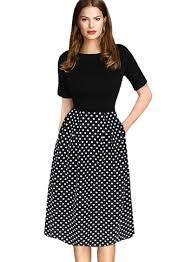 Half Sleeve Pocket Design High Waist Dress Designer97 Elegant Womens Half Sleeve Pockets Polka Dot