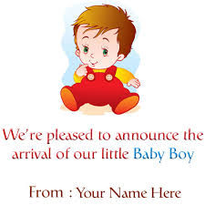 Baby Boy Birth Announcement Greeting Card With Name