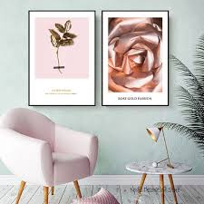 posters and prints nordic gold rose passion leaf pink flower wall prints wall art canvas painting on pink and gold flower wall art with posters and prints nordic gold rose passion leaf pink flower wall