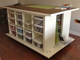 Craft Table with Storage with wooden cabinet