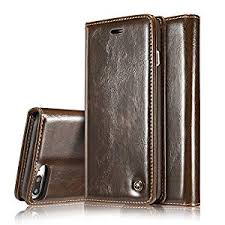 iphone 7 plus case premium pu wallet leather book design with flip cover and stand credit card slot case for apple iphone 7 plus brown