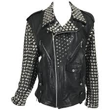 vintage heavily studded black leather motorcycle jacket mens small for
