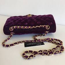 purple chanel bags. chanel 2.55 timeless purple velvet double flap hand/shoulder bag 2 bags