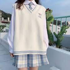 ♛Bộ đồ hai mảnh / một mùa thu và đông mới đại học phong cách đồng phục jk  áo len dệt kim sơ mi xếp ly hợp thời trang