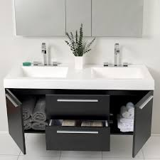 Modern double sink vanity Cheap Bathroom Black Modern Double Sink Bathroom Vanity W Medicine Cabinet Fvn8013bw 01 The Tub Connection 54