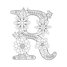 All english coloring pages including this alphabet letter r coloring page can be downloaded and printed. Letter R Coloring Book For Adults Vector Stock Vector Illustration Of Nature Fabric 71092139