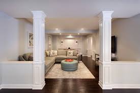 interesting decorative half walls as well as basement design ideas for columns basement masters