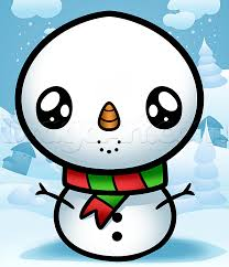 Draw two straight lines across the circle. How To Draw A Kawaii Snowman Step By Step Christmas Stuff Seasonal Free Online Draw Cute Animal Drawings Kawaii Kawaii Christmas Christmas Pictures To Draw
