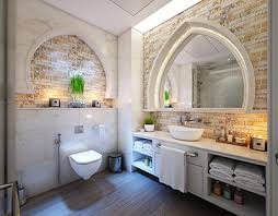 bathroom stone selection candles in modern setting
