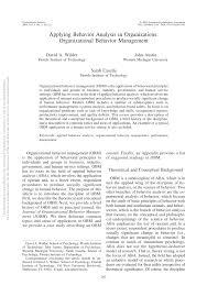applying behavior analysis in organizations organizational  applying behavior analysis in organizations organizational behavior management pdf available