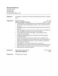 Concierge Resume Objectives Example Bunch Ideas Of Coveretter Front