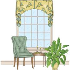 this is a simple arch valance with a center box pleat that shows a contrast fabric