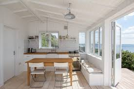 beach house kitchen designs. White Beach House Kitchen Style With Wooden Worktop Table Contemporary Design Designs