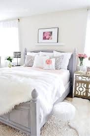 grey white bedroom rose gold
