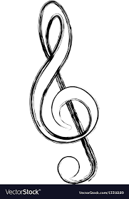 Blurred Silhouette Sign Music Treble Clef Vector Image