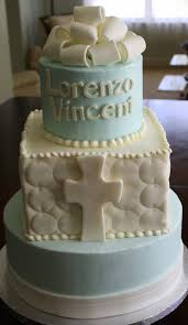 Claudine Simple Elegant Boys Baptism Cake