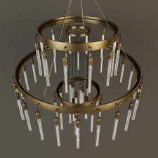 rh axis three tier chandelier 3d model max obj mtl 3