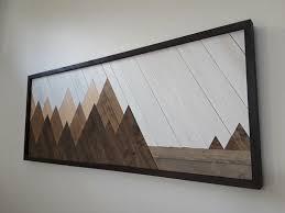 mountain wall art wood art